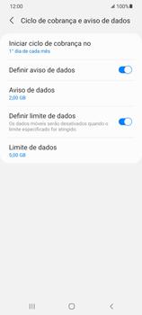 Como definir um aviso e limite de uso de dados - Samsung Galaxy S21 Ultra 5G - Passo 14