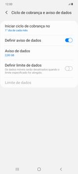 Como definir um aviso e limite de uso de dados - Samsung Galaxy Note 20 5G - Passo 6