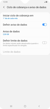 Como definir um aviso e limite de uso de dados - Samsung Galaxy A20 - Passo 8