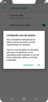 Como definir um aviso e limite de uso de dados - Motorola One - Passo 11