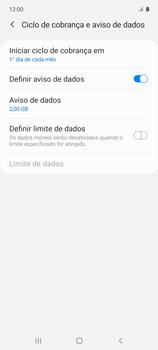 Como definir um aviso e limite de uso de dados - Samsung Galaxy A51 - Passo 11