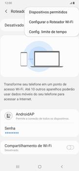 Como usar seu aparelho como um roteador de rede Wi-Fi - Samsung Galaxy A20 - Passo 7