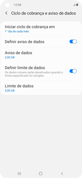 Como definir um aviso e limite de uso de dados - Samsung Galaxy A11 - Passo 12