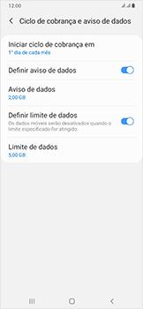 Como definir um aviso e limite de uso de dados - Samsung Galaxy A50 - Passo 14