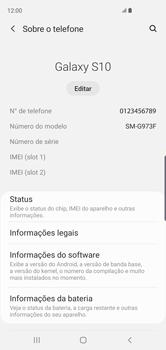 Como encontrar o número de IMEI do seu aparelho - Samsung Galaxy S10 - Passo 4