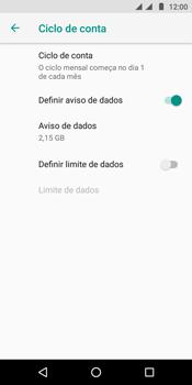 Como definir um aviso e limite de uso de dados - Motorola Moto E5 - Passo 10