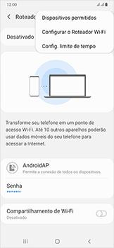 Como usar seu aparelho como um roteador de rede Wi-Fi - Samsung Galaxy A50 - Passo 7