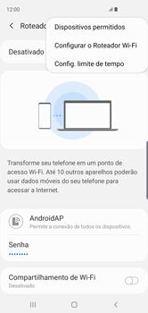Como usar seu aparelho como um roteador de rede Wi-Fi - Samsung Galaxy S10 - Passo 8