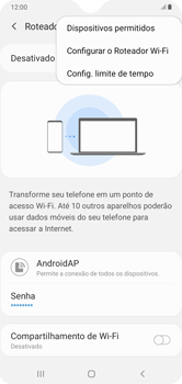 Como usar seu aparelho como um roteador de rede Wi-Fi - Samsung Galaxy A10 - Passo 7