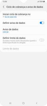 Como definir um aviso e limite de uso de dados - Samsung Galaxy A32 5G - Passo 6
