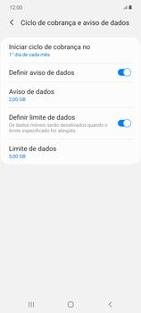 Como definir um aviso e limite de uso de dados - Samsung Galaxy Note 20 5G - Passo 14