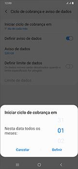 Como definir um aviso e limite de uso de dados - Samsung Galaxy A50 - Passo 7