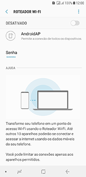Como usar seu aparelho como um roteador de rede Wi-Fi - Samsung Galaxy J6 - Passo 10
