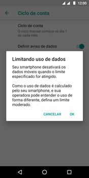 Como definir um aviso e limite de uso de dados - Motorola Moto G6 Play - Passo 11