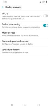 Como ativar e desativar o roaming de dados - LG K40S - Passo 5