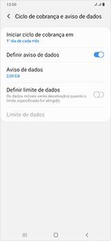 Como definir um aviso e limite de uso de dados - Samsung Galaxy A50 - Passo 8