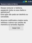 Como restaurar as configurações originais do seu aparelho - Motorola Master - Passo 7