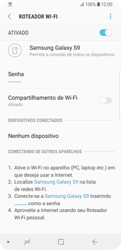Como usar seu aparelho como um roteador de rede Wi-Fi - Samsung Galaxy S9 - Passo 13
