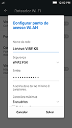 Como usar seu aparelho como um roteador de rede Wi-Fi - Lenovo Vibe K5 - Passo 5
