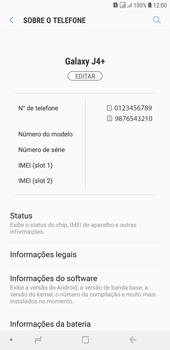 Como encontrar o número de IMEI do seu aparelho - Samsung Galaxy J4+ - Passo 4