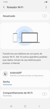 Como usar seu aparelho como um roteador de rede Wi-Fi - Samsung Galaxy A20 - Passo 10