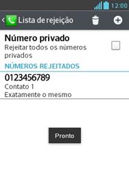 Como bloquear chamadas de um número específico - LG Optimus L3 II - Passo 11