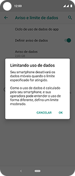 Como definir um aviso e limite de uso de dados - Motorola One Vision - Passo 11