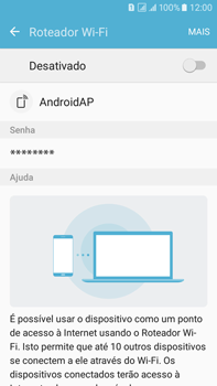 Como usar seu aparelho como um roteador de rede Wi-Fi - Samsung Galaxy On 7 - Passo 5
