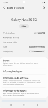 Como encontrar o número de IMEI do seu aparelho - Samsung Galaxy Note 20 5G - Passo 4