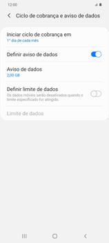 Como definir um aviso e limite de uso de dados - Samsung Galaxy S20 Plus 5G - Passo 9