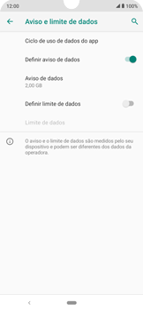 Como definir um aviso e limite de uso de dados - Motorola Moto E6 Plus - Passo 8
