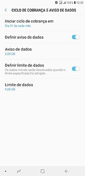 Como definir um aviso e limite de uso de dados - Samsung Galaxy J8 - Passo 14