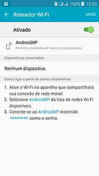 Como usar seu aparelho como um roteador de rede Wi-Fi - Samsung Galaxy J7 - Passo 10