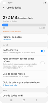 Como definir um aviso e limite de uso de dados - Samsung Galaxy A11 - Passo 5