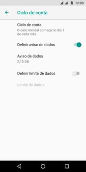 Como definir um aviso e limite de uso de dados - Motorola Moto G6 Plus - Passo 8