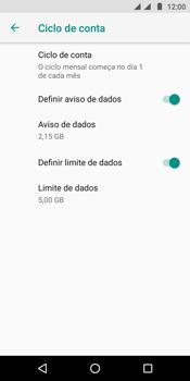Como definir um aviso e limite de uso de dados - Motorola Moto E5 - Passo 12