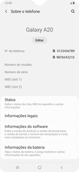 Como encontrar o número de IMEI do seu aparelho - Samsung Galaxy A20 - Passo 4
