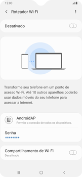 Como usar seu aparelho como um roteador de rede Wi-Fi - Samsung Galaxy A20 - Passo 6