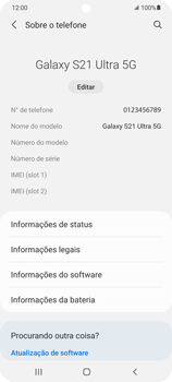 Como encontrar o número de IMEI do seu aparelho - Samsung Galaxy S21 Ultra 5G - Passo 4