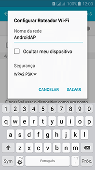 Como usar seu aparelho como um roteador de rede Wi-Fi - Samsung Galaxy J7 - Passo 7