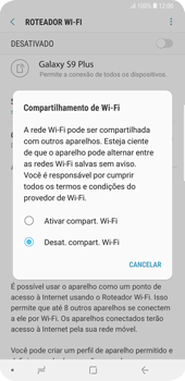 Como usar seu aparelho como um roteador de rede Wi-Fi - Samsung Galaxy S9 Plus - Passo 6