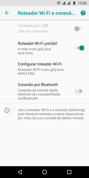 Como usar seu aparelho como um roteador de rede Wi-Fi - Motorola Moto G6 Plus - Passo 9
