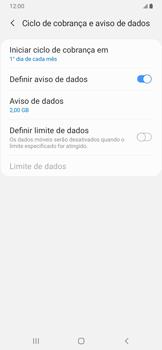Como definir um aviso e limite de uso de dados - Samsung Galaxy A20 - Passo 11