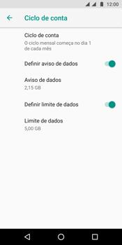 Como definir um aviso e limite de uso de dados - Motorola Moto G6 Plus - Passo 12