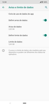 Como definir um aviso e limite de uso de dados - Motorola Moto E6 Plus - Passo 12