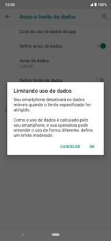 Como definir um aviso e limite de uso de dados - Motorola Moto E6 Plus - Passo 11