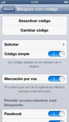 Activa o desactiva el uso del código de seguridad - Apple iPhone 5 - Passo 7