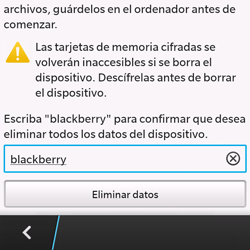 Restaura la configuración de fábrica - BlackBerry Q10 SQN100 – 1 - Passo 7