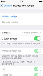 Activa o desactiva el uso del código de seguridad - Apple iPhone 5c - Passo 4