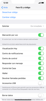 Activa o desactiva el uso del código de seguridad - Apple iPhone XS Max - Passo 7